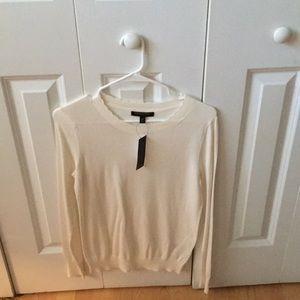 Cream, scallop cut, light weight sweater